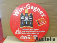 1 1998 Double sided cardboard advertising poster Coca-Cola