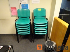12 chairs Green PVC seat