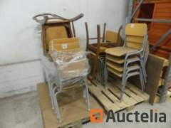 24 Chairs Metal Base, sitting in wood