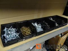 6 bins bouten, screws, tirefonds, nails, steel nails, wood screws