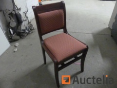 8 wooden Chairs, fabric sitting