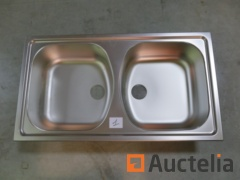 Double bins sink in stainless steel without drainer Francke