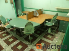 Double office table L, chairs