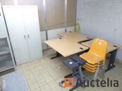 Metal cabinet, Trolley pc holder, Chairs PVC hull, Office tables