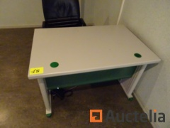Office table, a 2-door wardrobe, a black office table chair