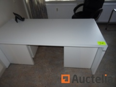 Office table White, a small white wardrobe, a large white wardrobe, a chair of office table on wheels