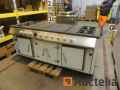 Professional Bertrand gas stove with 4 burners, 2 shots and 2 ovens
