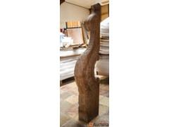 Sculpted beginning pole for stair in oak