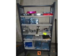 Shelf with office table equipment, document-racks, postage