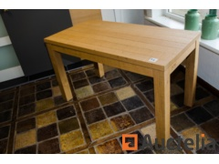 Solid oak table with bandsaw motif