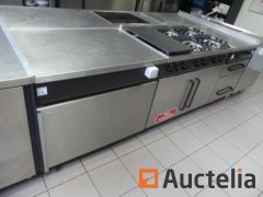 Stainless steel cupboard unit with gas stove 6 gas burners  and 2 ATAG ovens