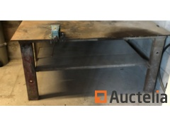Steel workbench with a vise