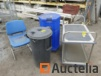 Tool trolley, garbage bins, container on wheels, 4 chairs